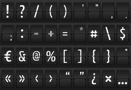 Set of glyphs on a mechanical terminal table, isolated elements Vector