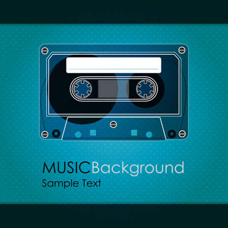 cassette tape: vintage cassette tape on a colored background and sample text Illustration