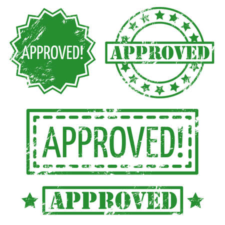 approved stamp: Set of approved rubber stamp