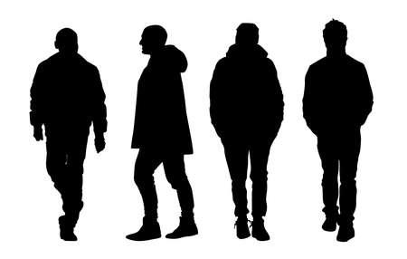gait: Silhouette man walking Illustration