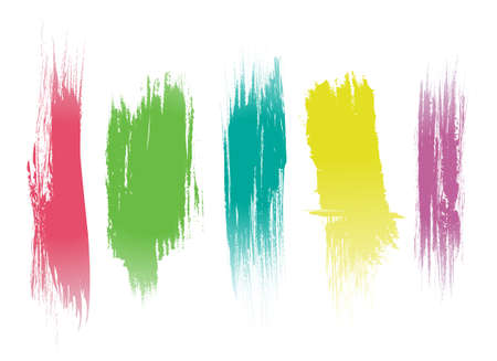 paint brush stroke: Set of color brush