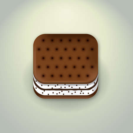 brown rice: Biscuit Icon  App Icon Illustration