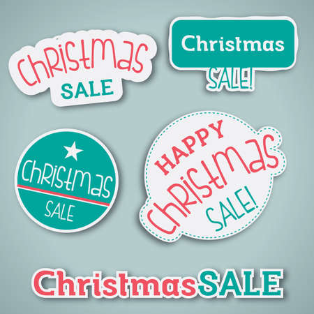 Christmas Sale Label - Set of vector label for Christmas sale Vector