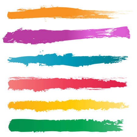 Colors Brush Strokes, Vector Illustration