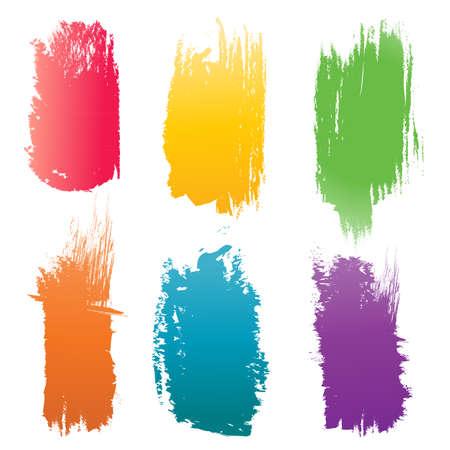 Set of vector color Brush Strokes  Illustration