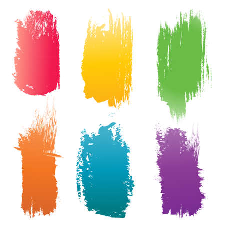 Set of vector color Brush Strokes  Illustration