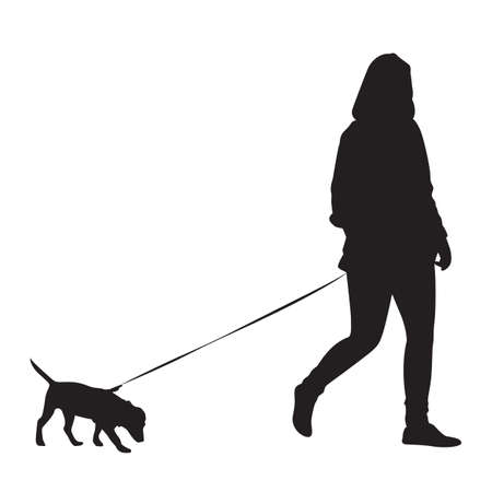 dog on leash: Girl walking with dog - Silhouette