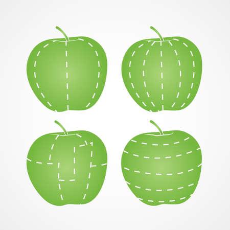 different ways: Apple cut in different ways Illustration