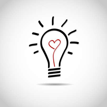 Creative love idea light bulb Vector