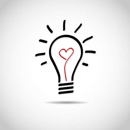 Creative love idea light bulb