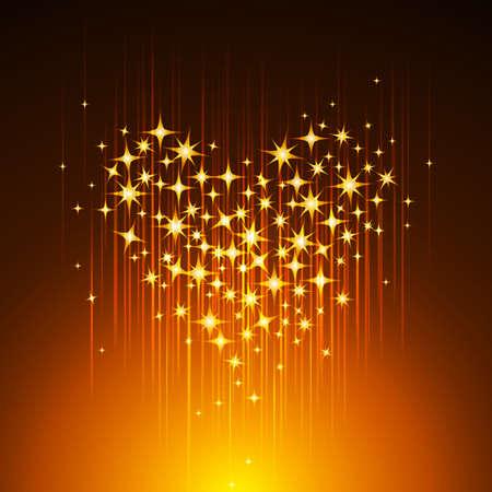 Golden Light Heart Background