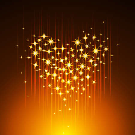 Golden Light Heart Background