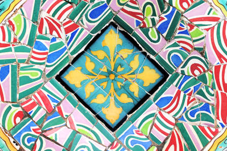 Mosaic Decorative Background - Detail of typical mosaic Barcelona Stock Photo