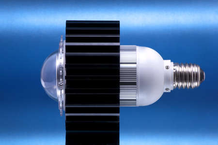LED lamp; object on blue background Stock Photo