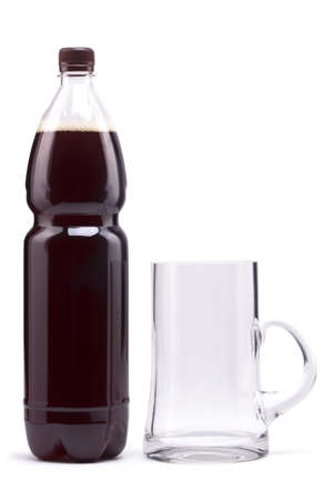 Bottle with dark beer and mug Stock Photo