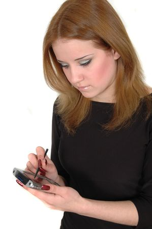 a businesswoman holding a pda and a stylus