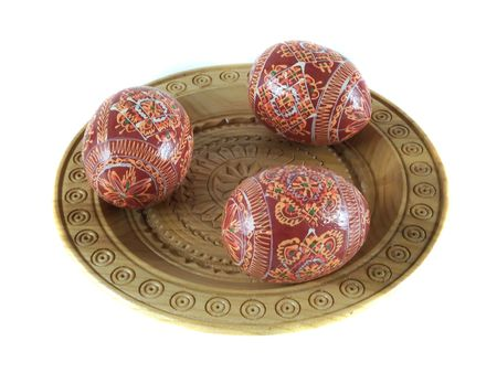 Easter eggs on the wood plate Stock Photo