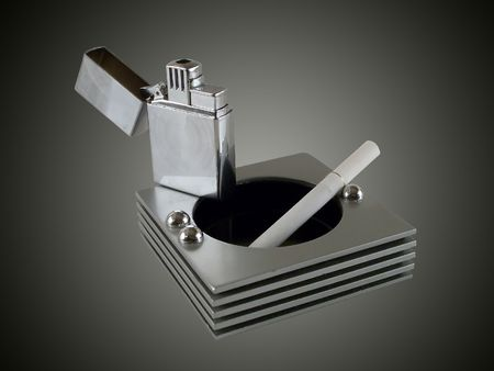 lighter, ash-tray and a cigarette composition