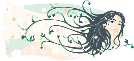 femme papillon: Beaut� vecteur fille face avec des poils Illustration