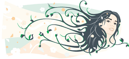 fantasy woman: Beauty vector girl face with hairs Illustration