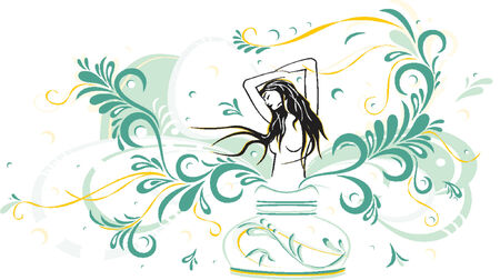 Beauty girl on the abstract background