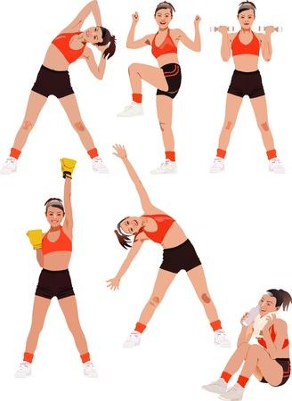 testépítő: Fitness vektor sorozat Illusztráció