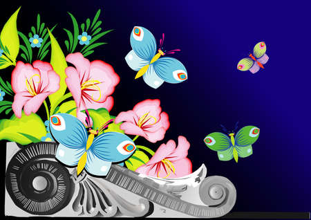 Abstract floral vector composition with butterflies Stock Vector - 10758253