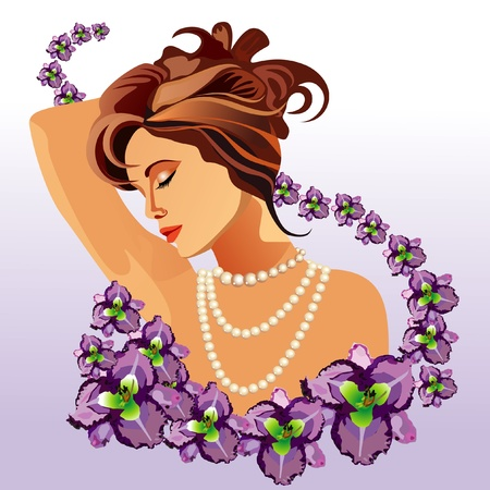 Beautiful woman with a flowers Stock Vector - 10758266