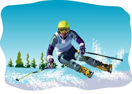 slalom: Vector skier
