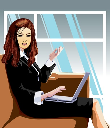 business woman in work office Stock Vector - 10789079