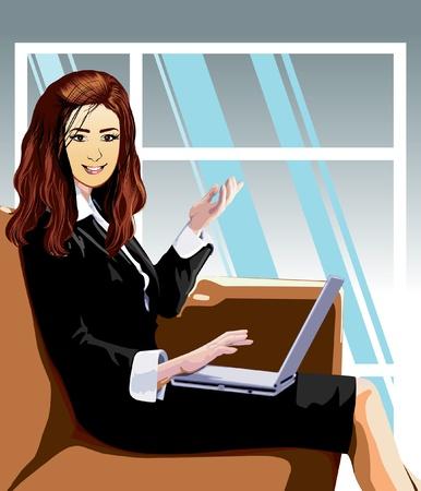 ragazza al telefono: donna d'affari in ufficio lavoro Vettoriali