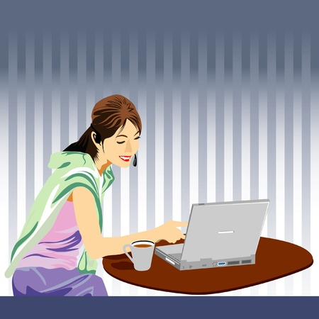 business woman in work office Stock Vector - 10789075