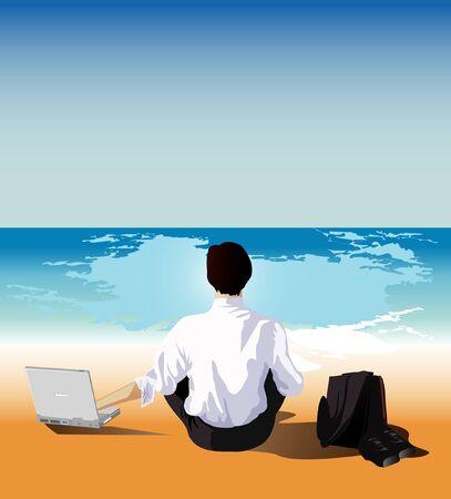 laptop outside: businessman relaxing Illustration