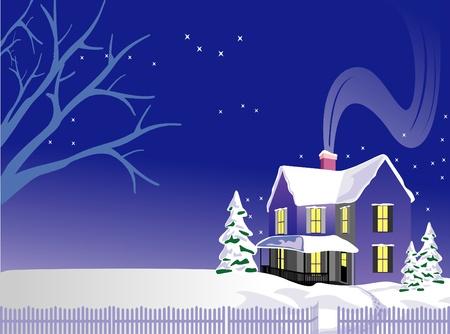 Cartoon winter landscape Stock Vector - 10789078