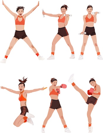 fitness instructor: Woman fitness colored vector illustrations collection