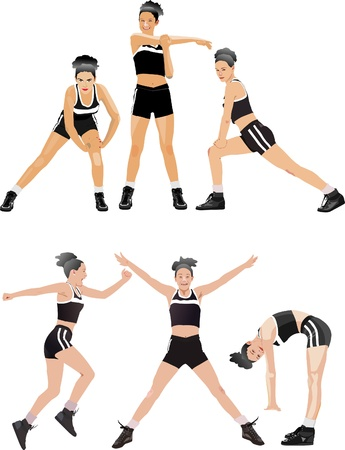 abdominal exercise: Woman fitness colored vector illustrations collection