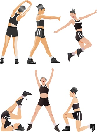 Woman fitness colored vector illustrations collection