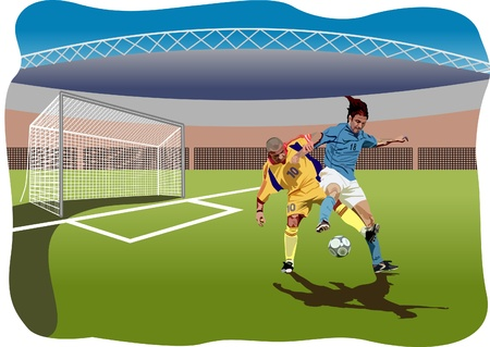 Soccer players. Colored Vector illustration Illustration