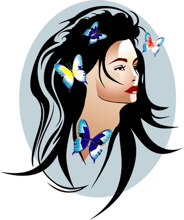 Beautyful girl with flowers and butterflies vector Stock Vector - 10815329