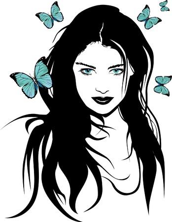 yellow hair: Beautyful ragazza con fiori e farfalle vettore Vettoriali