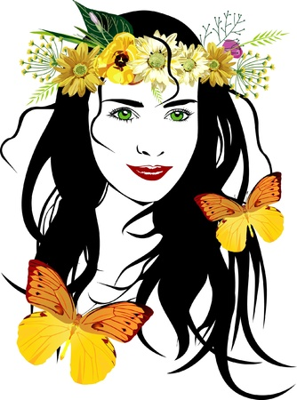 green hair: Beautyful girl with flowers and butterflies vector