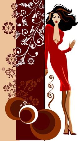Elegant fashion girls posing Illustration