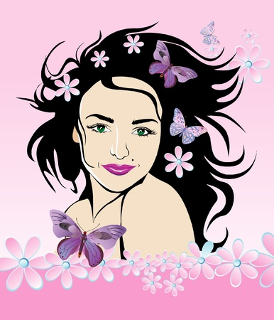 hairdo: Beautyful girl with flowers and butterflies vector