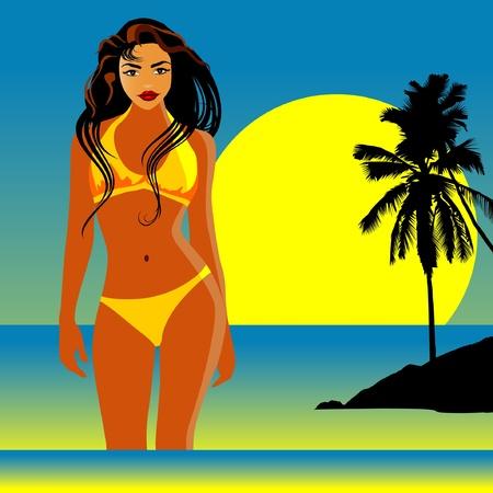 Beautiful sexy woman on the beach-vector Stock Vector - 10815327