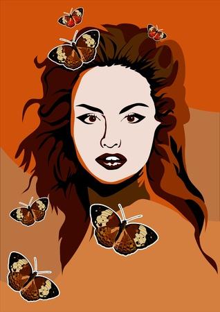 beautyful: Beautyful girl with butterflies vector