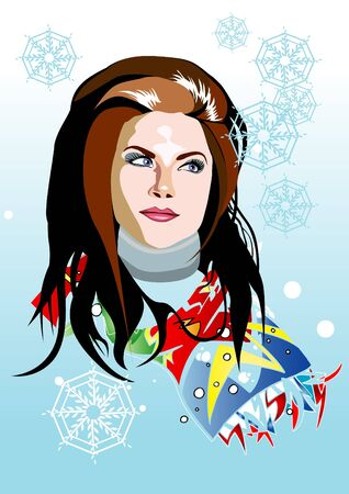 Beautyful girl with flowers and butterflies vector