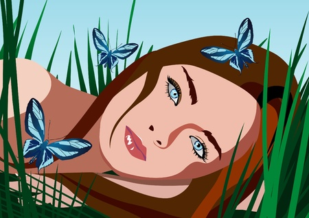 yellow hair: Beautyful ragazza con fiori e farfalle vettoriali