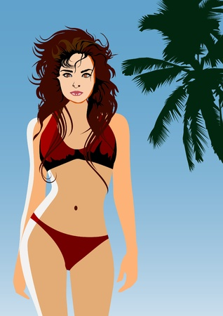 Beautiful sexy woman on the beach-vector Vector