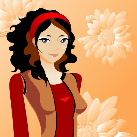cute girl with long hair: Beautyful girl with flowers vector Illustration