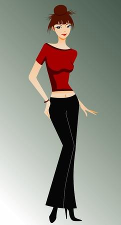 Elegant fashion women posing Vector